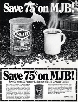 Coupon ad for MJB Coffee